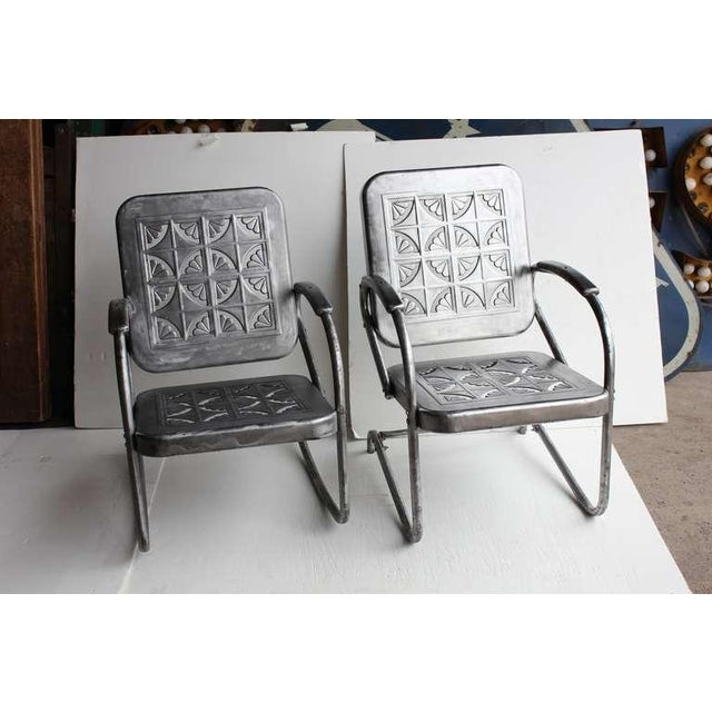 Mid Century Metal Garden Chairs- A Pair For Sale - Image 4 of 6