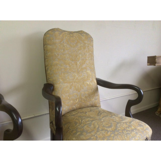 Mariano Fortuny English Style Arm Chairs With Fortuny Upholstery - a Pair For Sale - Image 4 of 12