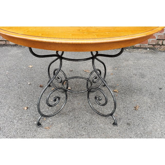 Brown Ethan Allen Legacy Collection Maple Table W/ Wrought Iron Base & 4 Side Chairs C1990s For Sale - Image 8 of 13