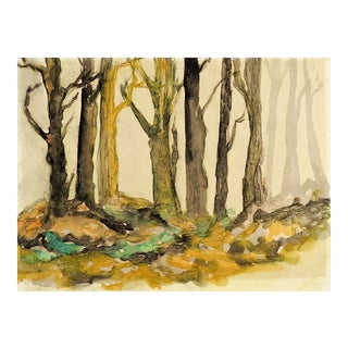 Mysterious Forest Watercolor Painting For Sale