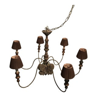 Carved Wood 6 Arm Chandelier For Sale