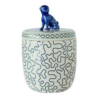 Port 68 Chinoiserie Blue/White Lidded Porcelain Jar For Sale