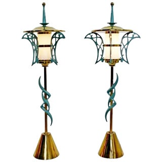 Rembrandt Mid-Century Modern Solid Brass Cold Painted Table Lamps, 1957 - a Pair For Sale