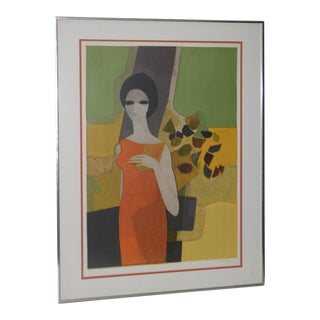 """Andre Minaux (French, 1923-1986) """"Grande Dame"""" Color Lithograph C.1960s For Sale"""