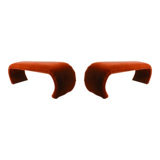 1970's Vintage Karl Springer Mineral-Orange Mohair Velvet-Clad Waterfall Benches - a Pair For Sale