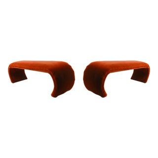 1970's Vintage Karl Springer Mineral-Orange Mohair Velvet-Clad Waterfall Benches - a Pair For Sale