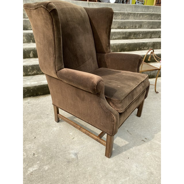Ethan Allen Chocolate Brown Velvet Wingback Chairs- a Pair For Sale - Image 9 of 13