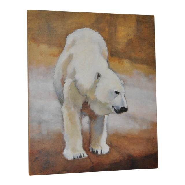 "Ute Simon ""Polar Bear"" Oil on Canvas Painting, Circa 2003 - Image 1 of 9"