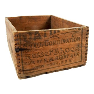 Small Antique Wood Shoe Polish Box For Sale
