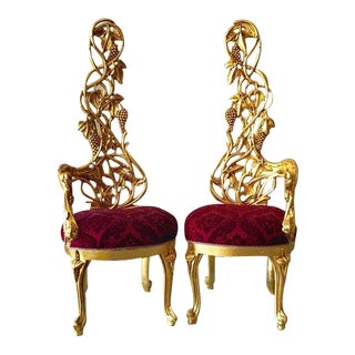 Italian Baroque Red Velvet Upholstered Chairs - a Pair For Sale