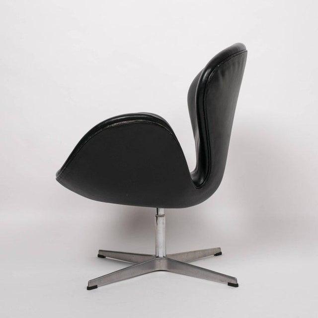 arne jacobsen swan chair in black leather chairish