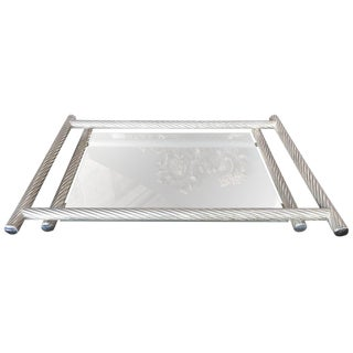 1960s Italian Rectangular Tray With Spiral Silver Frame For Sale