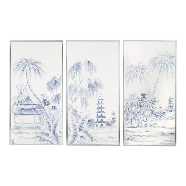 Jardins en Fleur Blue & White Pagoda Garden Triptych Paintings on Silk - Set of 3 For Sale