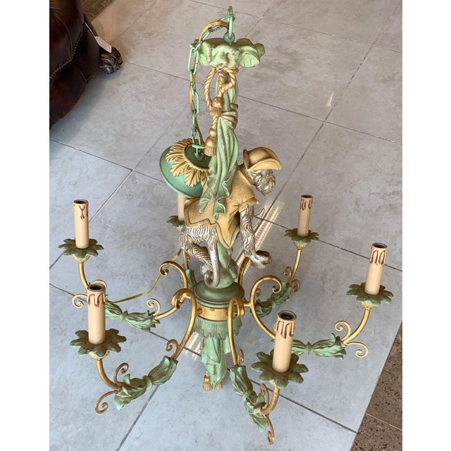 Metal Vintage Monkey Carved Wood Chandelier For Sale - Image 7 of 13