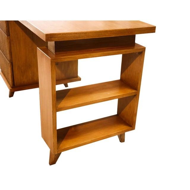 Beautiful, retro Mid-Century Modern, American of Martinsville bamboo desk in great original condition. Featuring three...