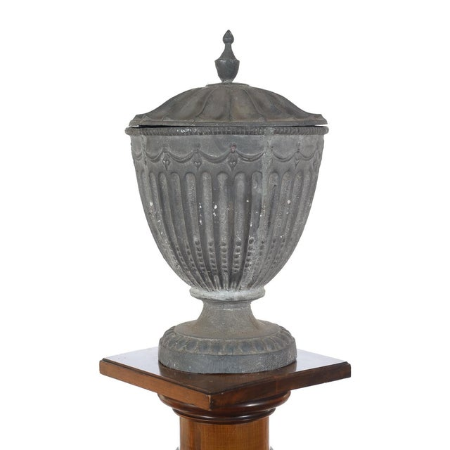 Mid 19th Century Antique Large Outdoor Lidded Metal Urn For Sale - Image 5 of 9