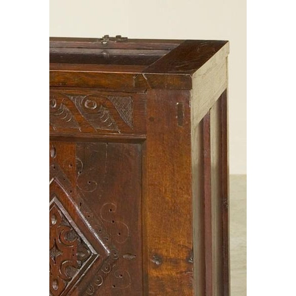 Traditional Antique English Oak Trunk Coffer circa 1850 For Sale - Image 3 of 7