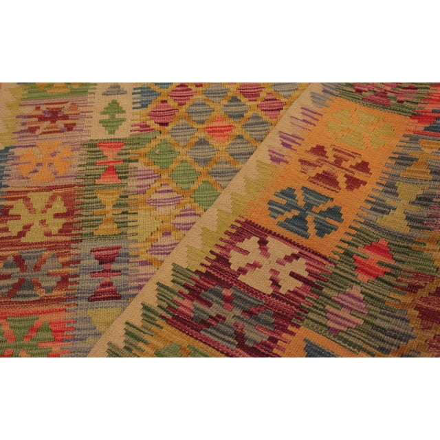 Textile Contemporary Tribal Lesli Beige/Gold Hand-Woven Kilim Wool Rug -3'6 X 6'9 For Sale - Image 7 of 8