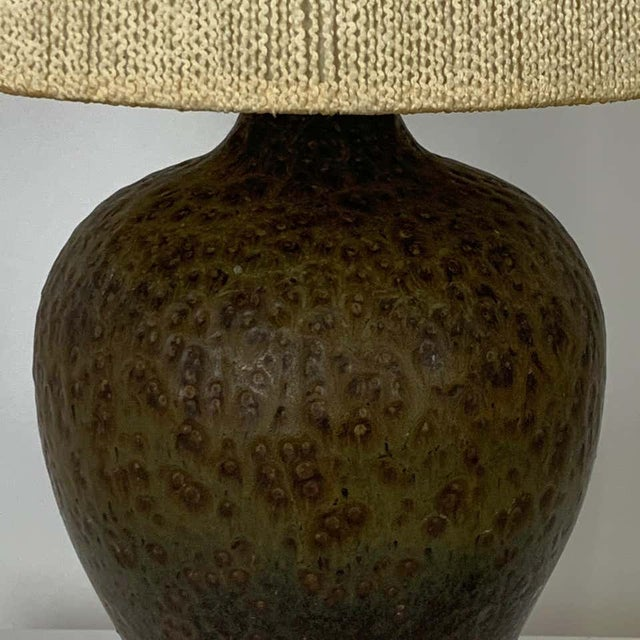 Signed Lee Rosen Design Technics Textured Glaze Ceramic Lamp with Original Shade For Sale In New York - Image 6 of 8