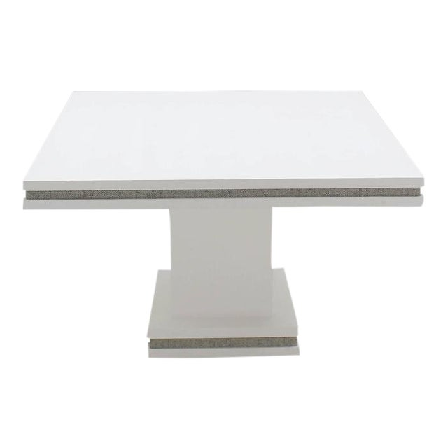 Vintage Mid Century Square White Lacquer Cloth Finish Game Table For Sale