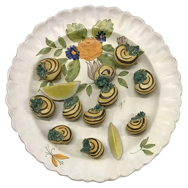 Mid-20th Century Italian Trompe-L'œil Plate of Escargots For Sale - Image 11 of 11