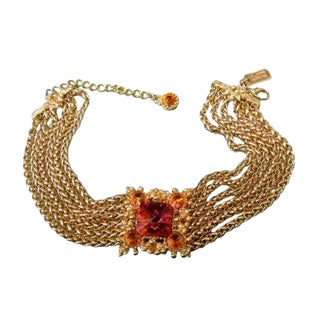 St. John Couture Crystal Choker Chain Necklace. 1990's. For Sale