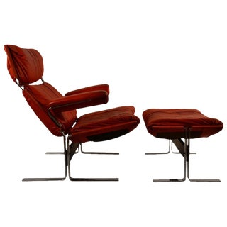 Richard Hersberger for Pace Leather Chair and Ottoman For Sale