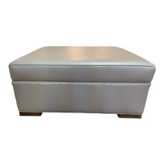 Pearson Custom Taupe Leather Ottoman For Sale