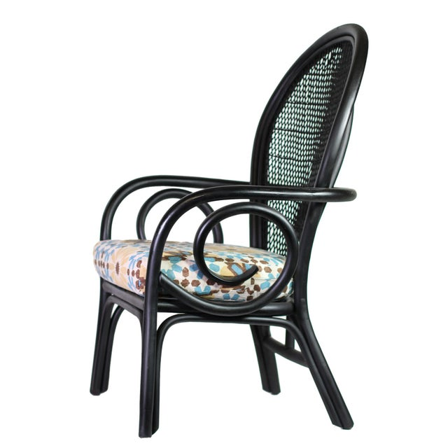 """Freshly painted Thonet-style bentwood arm chair with diamond patterned woven and tied rattan """"peacock"""" back. Newly made..."""