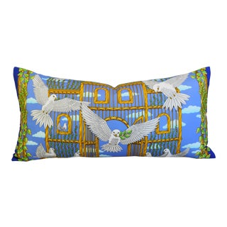 """Hermes Joachim Metz Doves of Peace Feather/Down Silk Pillow 34"""" x 17"""" For Sale"""