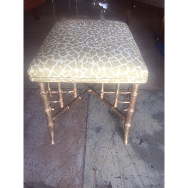 Late 19th Century English Gilt-Wood Bamboo Style Stool For Sale - Image 5 of 7