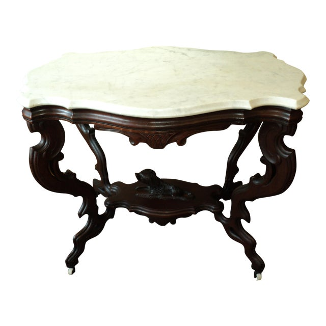 Antique Victorian Marble Top Turtle Shaped Dog Table