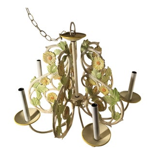 Vintage Mid-Century Painted Iron Chandelier For Sale