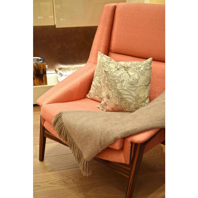 Fabric Orange Silk Upholstered Armchair For Sale - Image 7 of 13