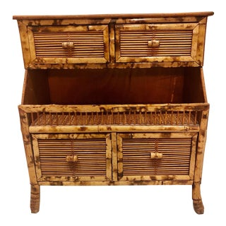 1970s Vintage Burnt Bamboo Rattan Chest Of Drawers For Sale