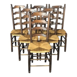 French Country Ladderback Chairs With Rush Seats -Set of 6 For Sale