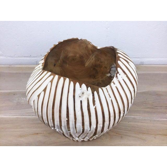 Handmade Teak Wood Bowl For Sale - Image 4 of 11