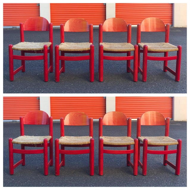 Hank Lowenstein Rush Seat Dining Chairs Made in Italy- Set of 8 For Sale - Image 13 of 13
