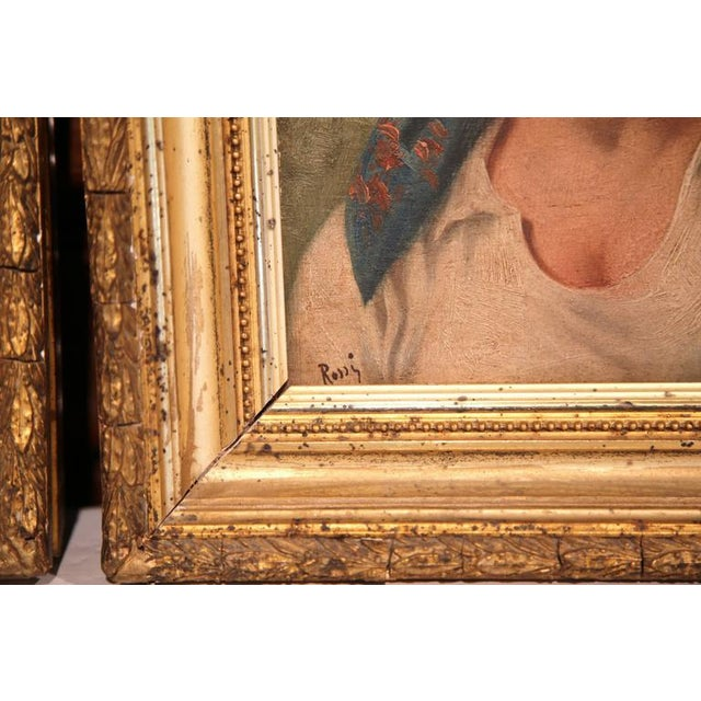 Paint 19th Century Italian Portraits Paintings in Gilt Frames Signed Rossi - A Pair For Sale - Image 7 of 8