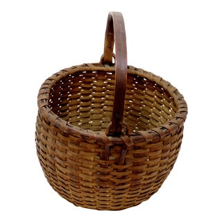 Antique American Swing Handle Splint Basket For Sale
