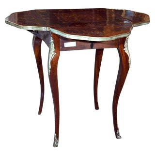 French Mahogany Inlaid Handkerchief Table For Sale