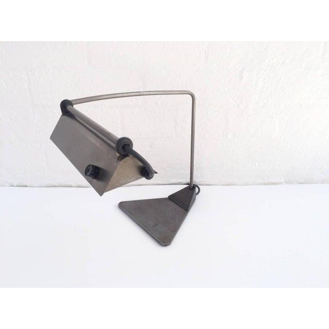 Mid-Century Modern Ron Rezek Raw Steel Desk Lamp For Sale - Image 3 of 10