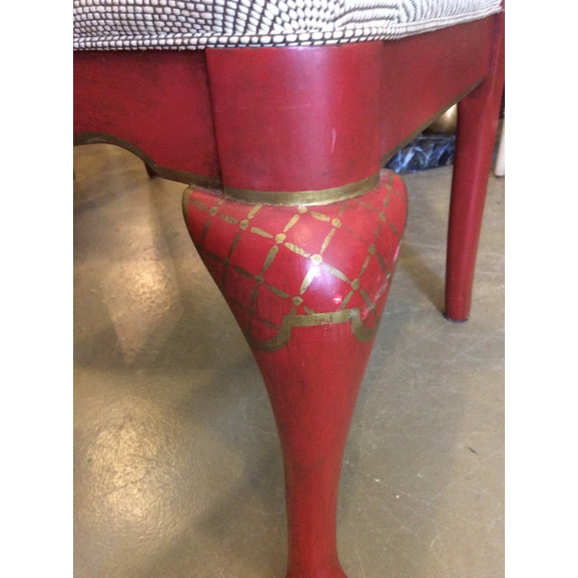 1980s Red Chinoiserie Dining Chair - Set of 4 For Sale - Image 5 of 13