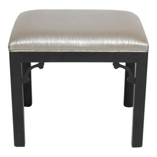 Chinoiserie Black Lacquer & Vinyl Footstool For Sale