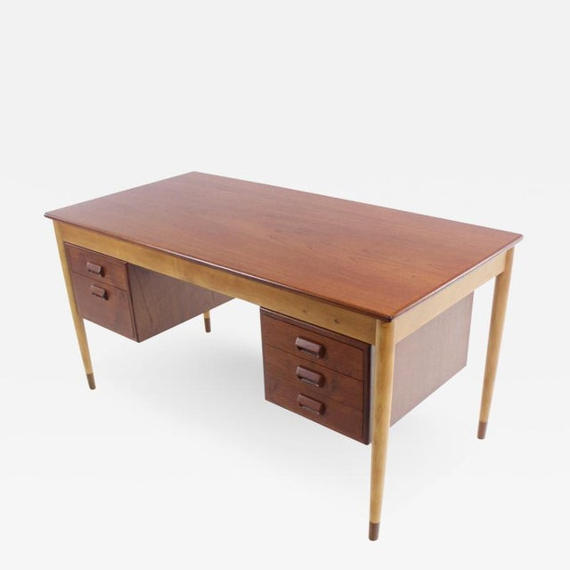 Wood Scandinavian Modern Teak, Beech & Walnut Desk Designed by Borge Mogensen For Sale - Image 7 of 7