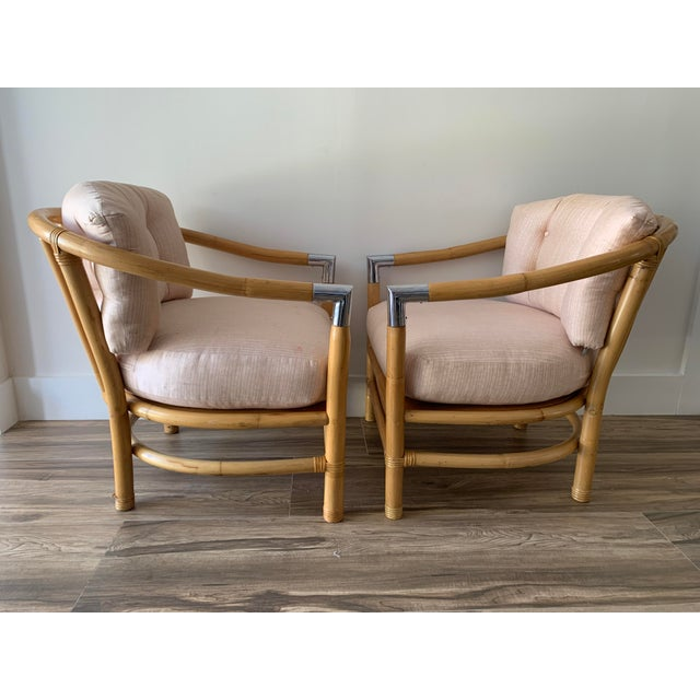 Mid-Century Modern Bamboo and Chrome Lounge Chairs- A Pair For Sale - Image 3 of 12