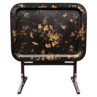 English Regency Style Gilt Papier Mache Black Lacquer Tray Table, Stand For Sale