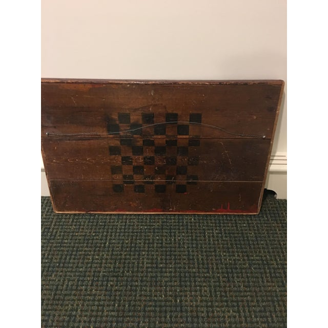 Folk Art Antique Wooden Red & Black Checkerboard For Sale - Image 3 of 4