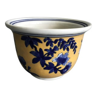 Vintage Yellow & Blue Floral Chinese Planter