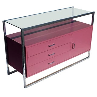 1970s Mid-Century Modern Chrome and Pink Lacquer Bar Cabinet